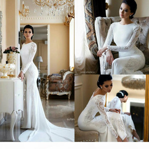 Elegant Mermaid Wedding Dresses Lace Appliqued Beaded Jewel Neck Sweep Train Boho Wedding Dress Bridal Gowns Long Sleeves abiti da sposa
