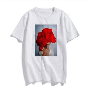 Fashion Nordic Art Sexy Red Flowers Harajuku Aesthetics T Shirt Women Vintage Short Sleeve Plus Size Cotton Top Tees Streetwear