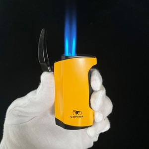 더블 제트 화염 토치 라이터가있는 Cohiba 금속 라이터 및 Butane 가스 담배 가볍게 사용하십시오.