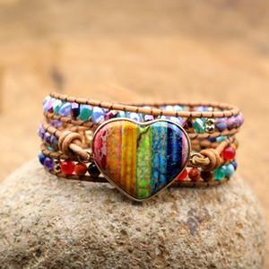 Seven Chakra Heart Stones Women Yoga Bracelets Handmade Beaded Meditation Reiki Healing Female Bangles Q1201