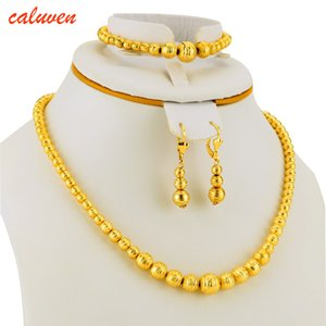 Hot Selling Bead Necklace Earrings Bracelet Set Jewelry Ball For Women Gold Color Africa Arab Middle East Ethiopian Gift Z1201
