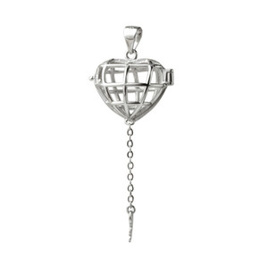 Gift Cage 925 Sterling Silver Lockets Love Wish Floating Pearl Heart Cage Key Pendant 5 Pieces