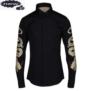 Brand Men Slim Fit Wedding Dress Shirts Dragon Embroidery Formal Business Man Office Work Long Sleeved Spring Tops Large Size
