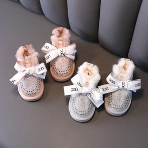 Inverno de Algodão de 1 a 3 anos de idade crianças espessadas Sho Snow Plush e meninas de diamante quente Princs Botas