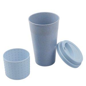 Fashion Silicone Coffee Mug with Lid Eco-friendly Wheat Straw Drink Tea Cup Creative Coffee Cup Travel Mug Pink Blue Tea Mug DHD3406