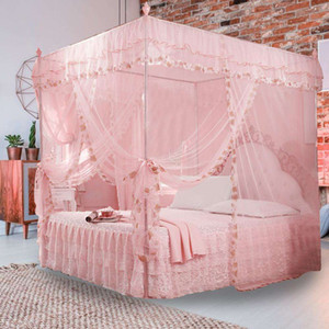 Luxury Princess Canopy Bed Curtains 3 Side Openings Post Bed Curtain Canopy Netting Mosquito Net Bedding No Bracket Home Supplie
