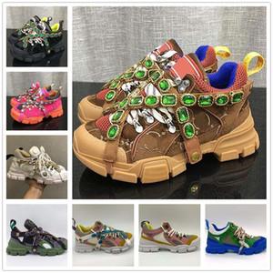 2021 Femmes Flashtrek Sneakers Bottes de montagne G1 Cristaux amovibles Cuir multicolore Casual Chaussures Casual Homme Formateurs de randonnée en plein air Taille # 36-45