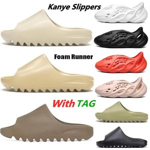 2021 New Kanye West Slides Slippers Foam Runner Desert Sand Triple Black Bone White Resin Solid Slide Sandal Women Mens Slipper Size 5-11