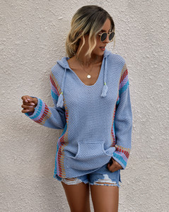 Women Color Matching Sweater V Neck Hooded Big Pocket Long Sleeve Sweater Famale Autumn Slim Fit Clothes