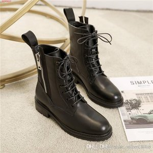 Fall winter boots for women,Motorcycle style leather ankle boots,Leather shoes with low heels that are antiskid and wear resistant