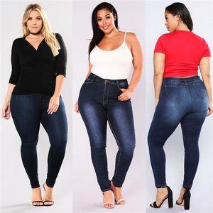 Mulher nova marca de Primavera-Verão Gradient Denim Elastic cintura alta calças Ladies Pencil Blue Jeans Streetwear Plus Size