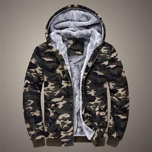 Man's Jackets And Coats Winter Brand Mens Camouflage Hoodie Winter Warm Fleece Zipper Sweater Man Jacket Outdoor Coat Large Size