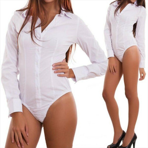 2019 New Office Bodysuit Women Long Sleeve Button Solid V Neck Jumpsuit Romper Stretch Leotard Womens body Tops shirt Playsuit