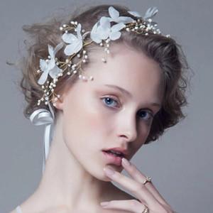 Romantic Handmade White Lace Flower Headbands Women Tiaras Crystal Pearls Hairband Headpieces Wedding Bridal Hair Jewelry Accessories AL7808
