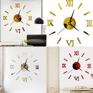 3D Originality Wall Clock Multicolour Roman Numerals Mirror Stereoscopic Paste DIY Home Decor Clocks Modern Style 6yya F2