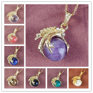 Kraft-beads Light Yellow Gold Color Dragon Claw Amethysts Pendant Rock Crystal Necklace Link Chain Jewelry