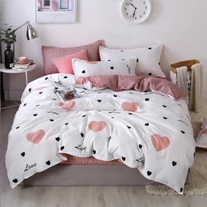 denisroom pink Dot heart Printing Bed linens cute Bedding Sets bed duvet cover set kid quilt cover sheets GT41#
