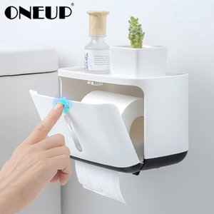 ONEUP New Bathroom Waterproof Tissue Box Plastic Toilet Paper Holder Wall Mounted Tissue Storage Box Napkin Dispenser Organizer Y1125