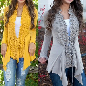 Autumn Womens Long Sleeve Cardigan Top Ladies Irregular Casual Waist Slim Coat Outwear Winter Think Sweater