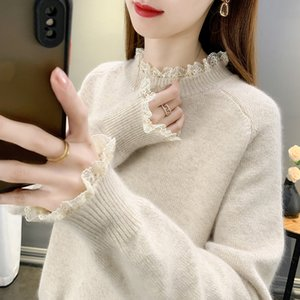 Match with Coat Inner Wear Sweater 2020 New Womens Half Turtleneck Beige Lace Womens Knitted Undershirt Western Style