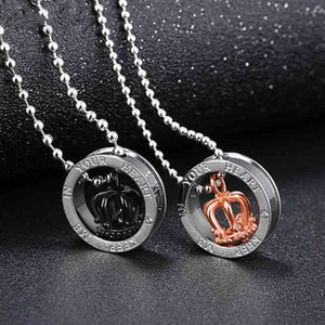 Classic Rose Gold Black Crown Pendants Stainless Steel Letters Couples Necklace Beads Chain Clavicle Choker Women Men