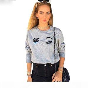 2018 New Arrival Women Hoodies Cute Eyes Pattern Embroidery Pullovers Plus Velvet Hoodies Casual Women Tops Women Sweatshirts