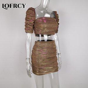 Lofrcy 섹시한 장식 조각 2 조각 세트 여성 자르기 탑 및 스커트 반짝이 클럽 복장 퍼프 슬리브 스퀘어 넥 Ruched 드레스 매칭 세트 201102