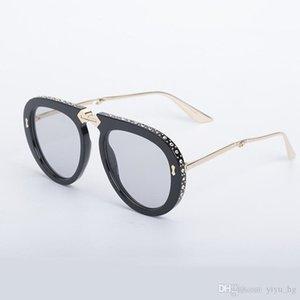 Gafas de sol de marco plegable de lujo con diamantes de imitación Decoración de moda Diseñador de sol gafas de sol Mujeres Hombres Marco grande EyeGlasses 6 colores