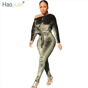 Sexy Stretch One Shoulder Velvet Rompers Womens Jumpsuit 2020 Fashion Clothing Body Overalls One Piece Bandage Jumpsuit