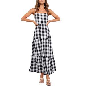 Vestido de sling sem mangas sexy feminino, saia de impressão xadrez solta casual, colarinho quadrado bodycon one-peça