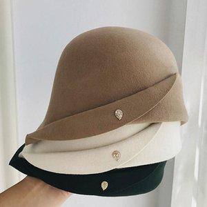Nouvelle laine feutre de la laine CLOCHE hiver chapeau pour femme rétro BRIM Fedora Hat Lady Eglise Dergy Derby Fête Fashion Roldable Soft Chapeau chaleureux