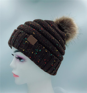 High Quality Winter New Warm Woolen Hat With Label Knitted Women Hats Casual Outdoor Fashion Caps 15 COLOR