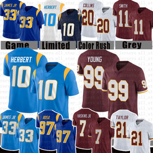 10 Джастин Герберт 99 Чейз Молодой футбол Джерси 7 Dwayne Haskins 21 Sean Taylor 13 Keenan Allen 97 Jersey Bosa 33 Derwin James