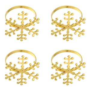 4 Pcs Napkin Holder Xmas Napkin Holder Buckle Christmas Ring Snowflake Ring for Party Banquet Dinner