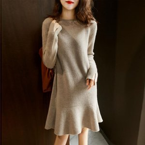 Women New Year Sweater Dress Autumn Winter Temperament Round Neck Solid Color Ruffled Hem Knitted Base Warm Simple Sweet Lady