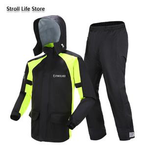 Adult Raincoat Rain Pants Waterproof Double-Layer Motorcycle Riding Rain Coat Jacket Rain Poncho Impermeable Mens Sports Suits J1211