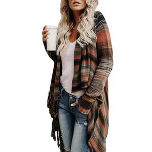 Mode Dame Unregelmäßige Strickplatte Tassel Pullover Ethnische Strickjacke Damen Mode Wilde Frauen Retro Neue Ankunft Frühling Herbst Mäntel