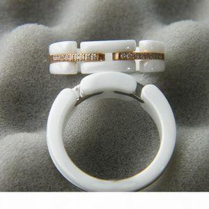 Ceramic Ring Paris Diamond Ring Ultra Series Black & White Women Wedding Party Rings Young & Unique & Distinctive Ring