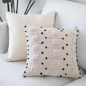 Single Side Cotton Thread Cut Four Corner Tassel Pillow Cover Home Sofa Waist Support Office Waist Pillow Cushion Pillow Case