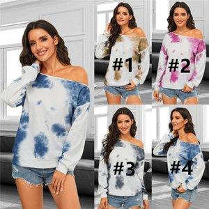 Kadınlar Tasarımcı Giyim Kadın Tie-boya Uzun Kollu Kapalı Omuzlar Sweatershirt Kazak Kış Moda Günlük Triko CZ111605 Tops