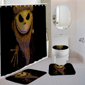 4 Pieces Curtains Terror Skull Shower Curtain Animal Kids Bath Sets 3D Printing Bathroom Comfortable And Soft Shower Curtain Set Z1127