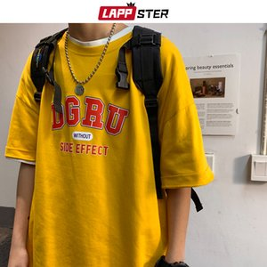 LAPPSTER Men Japanese Streetwear Yellow T Shirt 2020 Summer Mens Harajuku Hip Hop T Shirts Couple Korean Casual Tees T-shirts Q1202