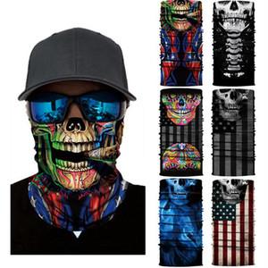 Skull Magic Scarf American National Flag Bandana Half Face Mask 25*50cm Camo Headband Turban Ski Cycling Mask CYZ2913