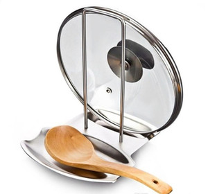 Pot Lid Holders Scoop Holder Stainless Steel Pot Cover Rack And Spoon Rack Multifunctional Kitchen Storage Rack