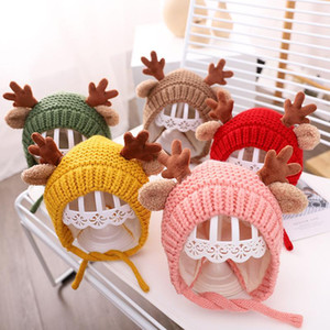 5 Colors Baby Knitted Hat Autumn And Winter Infant Cute Antler Wool Hat Children Cartoon Ear Protection Warm Hat HWA2527