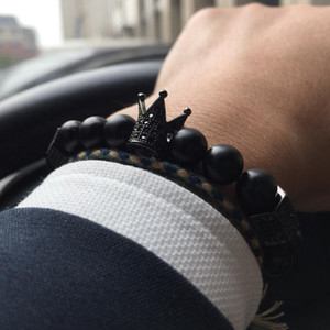 Mcllroy bracelet men bead stone skull luxury jewelry bracelets bangles black natural stone crown cz zircon bracelet male jewelry