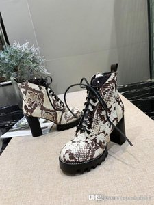 Hot Luxury Womens Boots Snake Print Leather Short Boots 10cm Flat High heeled Chunky Womens Shoes Casual Platform Desert Boot Bottes W1