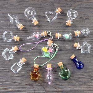Mini souhaitant des bouteilles de verre transparent petit bouchon de liège de bouchon de liège en forme de bouteille ronde de bouteille de bouteille de bouteille de bouteilles de la bouteille pendentres simples décorer 0 99JD m2