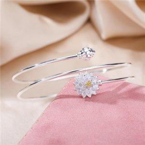 Japan and South Korea smooth S925 pure silver lotus Bracelet women's sense of literature and art lotus Bracelet opening multi Circle Bracele