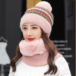 Winter Knit Hat Scarf Two-piece Women Beanies Cap Lady Warm Wool Ball Caps Sweet Cute Knitted Earmuffs Hats Female